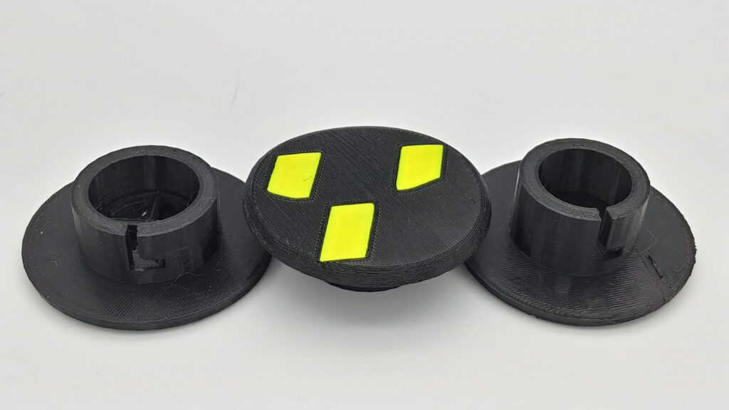Black PETG hub with fluorescent Yellow PLA Ryker Y