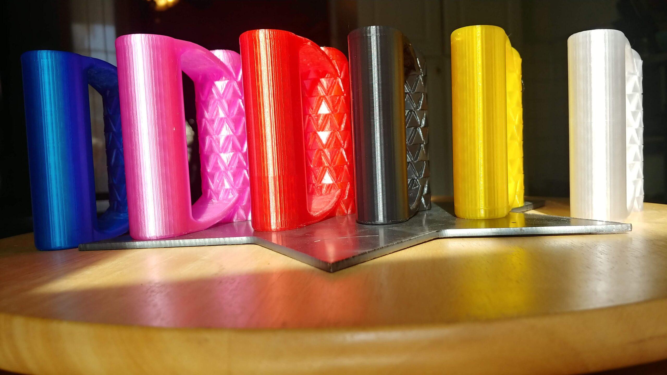 translucent blue PETG, translucent pink PETG, translucent red PETG, black PETG, translucent yellow PETG, clear PETG
