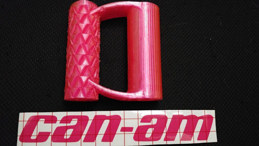 translucent pink PETG shovel handle