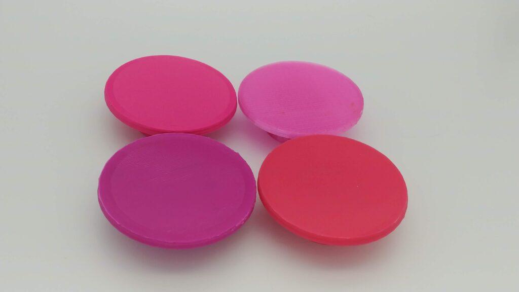 Top Left - Magenta/Hot Pink PETG, Top Right - translucent Pink PETG, Bottom Left - Purple, Bottom Right - Dark Pink PLA+