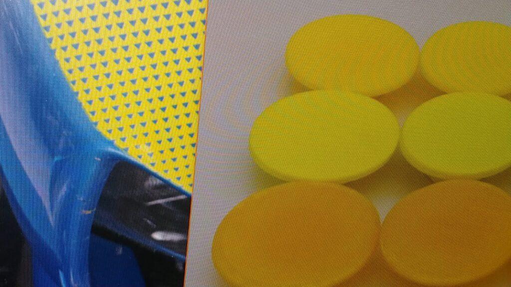 Solid yellow PETG, Fluorescent Yellow PLA, translucent yellow PETG