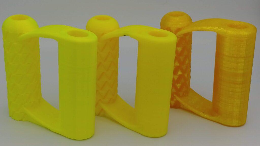 Fluorescent Yellow PLA, Solid yellow PETG, translucent yellow PETG