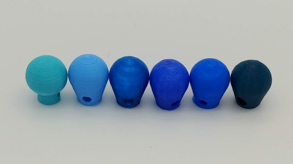Sky blue PETG, light blue PLA+, translucent blue PETG, solid blue PETG, blue PLA+ and dark teal PETG