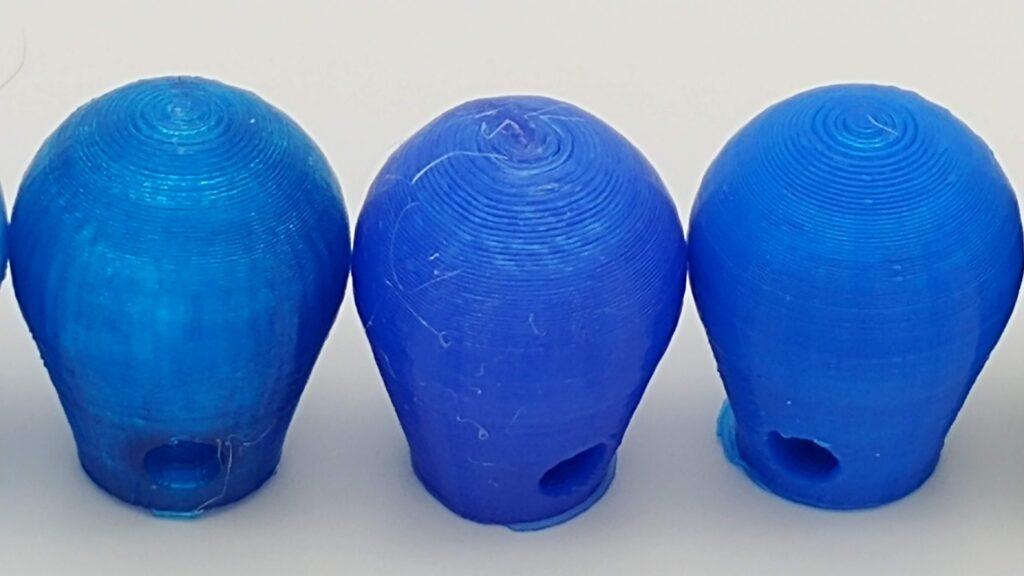 Translucent blue, solid blue PETG, blue PLA+